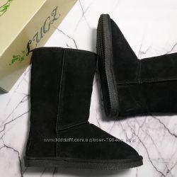 Угги черные натуральная замша и овчина мех бренд Lugz оригинал из США р35