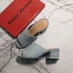 Andres machado 32 и 33 размер голубые мюли босоножки на широком каблуке
