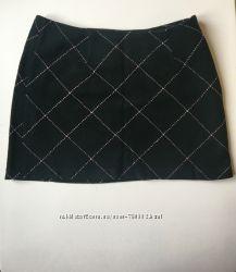 Тёплая мини-юбка в клетку xs 34