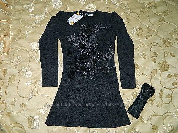 Красивое нарядное платье туника серая цветы цветочный принт вышивка бенини