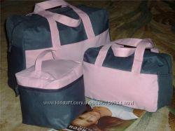Набор из 3-х серо-розовых сумок ив роше