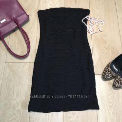 Zara платье вечернее коктельное без бретелек в обтяжку