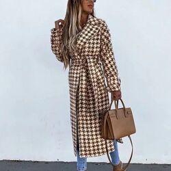 Женское кашемировое пальто гусиная лапка под пояс