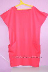 платье -туника коралового цвета