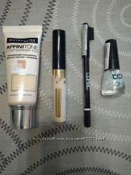 Набор косметики Maybelline. Тональный крем, корректор, карандаш и лак.