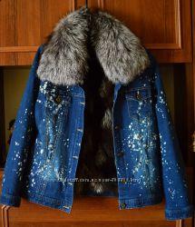 Джинсовая зимняя куртка .