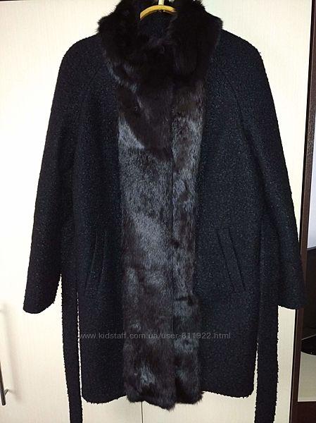 Зимнее шикарное пальто шерсть с натуральным мехом