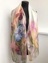 Шелковый шарф Ирисовый, натуральный шелк