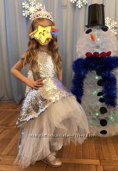 Костюм платье снежинки льдинки снегурочки снежной королевы зимы золушки