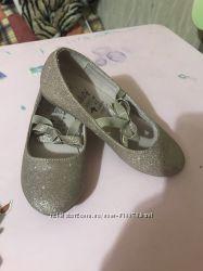 Туфельки золотистые 11 размер, 18 см стелька