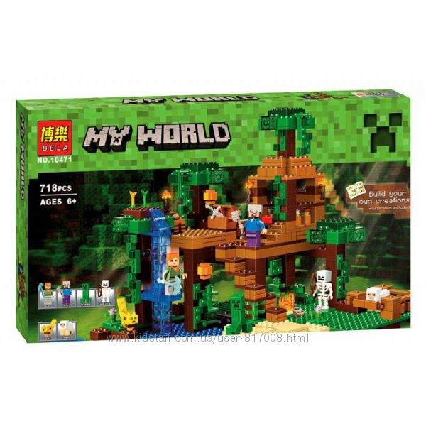 Бела Майнкрафт 10471 конструктор Bela Minecraft My World домик в джунглях