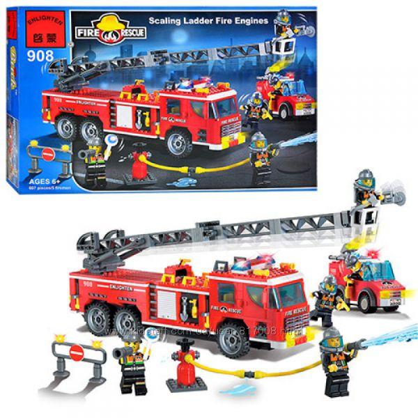 Брик 908 Пожарная техника машина конструктор Brick Enlighten Fire Rescue