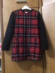 Стильное пальто в крупную клетку, 10-13 лет, осень- весна. zara