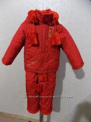 Зимняя куртка с комбинезоном двойка красная на 1-2 года