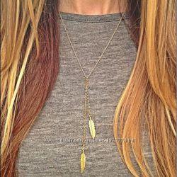 Цепочка два пера, очень элегантное колье цвета золота для элегантной женщин