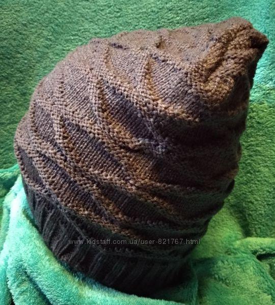 Новая шапка бини с вязаным узором, темно-серая