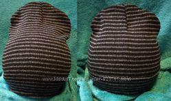 шапка бини плотная вязка полоски отворот