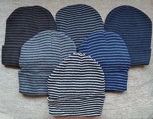 шапка бини плотная вязка полоски отворот комплект