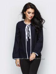 Блуза сорочка темно-синя