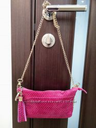 Супер стильная сумочка cross-body на цепочке 100 натуральная замша
