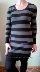 Теплое платье sela в полоску размер м