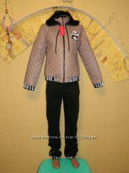 Новый женский зимний костюм куртка и штаны р. 46-48 с мишкой Панда Love