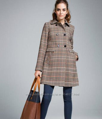 Актуальное пальто в клеткубеж H&Mшерстяноедемисезонноеколокол-M