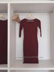 Платье-футляр бордовое terranova