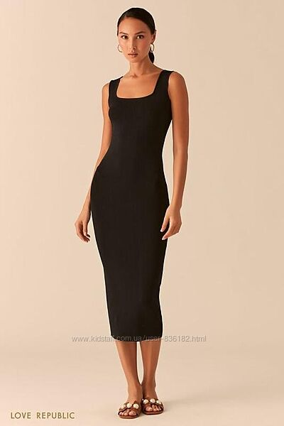 Чёрное бежевое трикотажное платье миди  рубчик love republic 0358305533