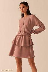 Платье с ярусным подолом  чёрное и капучино love republic 0358062577