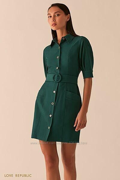 Платье мини бордовое зеленое бежевое с поясом love republic 0358251574-73