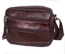 Кожаная мужская сумка через плечо барсетка Премиум кожа 15х19х7см