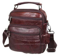 Кожаная мужская сумка Bon101-1 коричневая барсетка через плечо 21х18х9см
