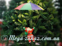 Дед Мороз на парашюте Дед Мороз на зонтике фигурка 40см на парашюте 55см