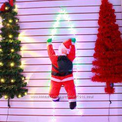 Дед Мороз на светящейся лестнице 60см Санта Клаус LED гирлянда лестница