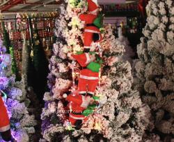 Дед Мороз на светящейся лестнице 30см Санта Клаус LED гирлянда лестница