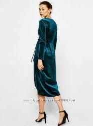Бархатное стильное платье Bershka на запах