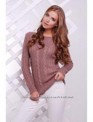 Теплый женский свитер S-M цвет фрез