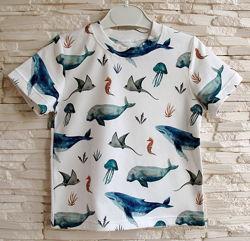 Детская футболка Акварельные киты рост 80-146