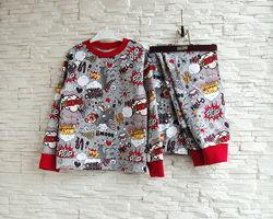 Детская теплая пижама на байке  рост 80 - 146