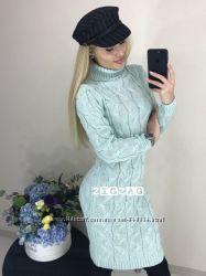 Вязанное платье  из плотной машинной вязки. Зима 2018 Разные цвета
