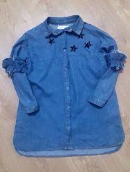 Джинсовая рубашка Zara  на 8-10лет