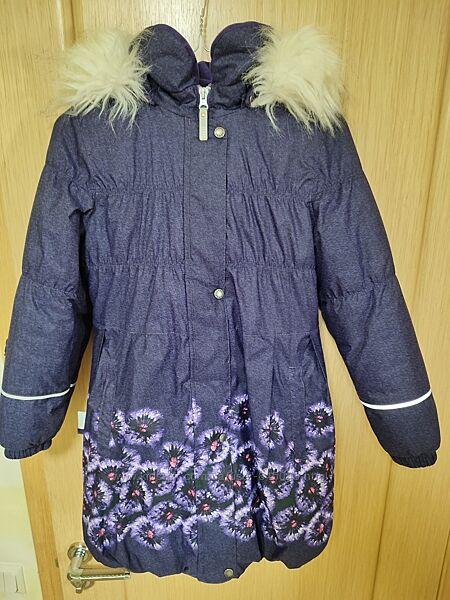 Красивое зимнее пальто для девочки Lenne ESTELLE 134р, темно-фиолетовое
