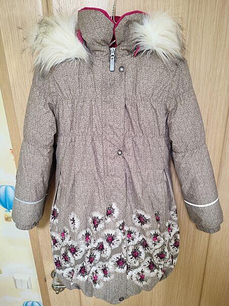 Красивое зимнее пальто для девочки Lenne ESTELLE 134р, кофейное