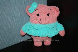 Вязаные плюшевые игрушки. Свинки, бегемотик, барашек, слоник