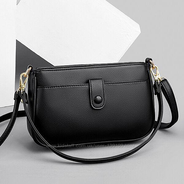 Оригинальная кожаная повседневная женская черная сумочка