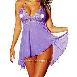 фиолетовая сорочка из кружева