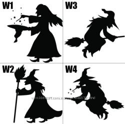 Виниловые наклейки на Halloween Ведьма, набор, поштучно, разные размеры