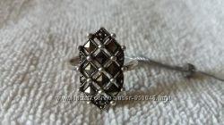 кольцо перстень серебро с марказитом р. 18, 5