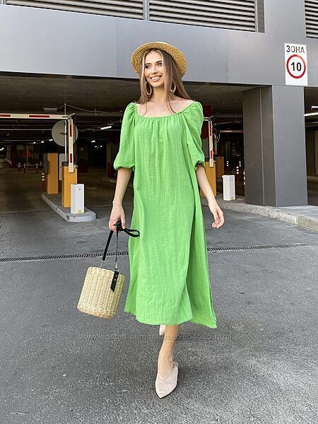 Женское свободное платье со льна, платье лен для беременных, летнее платье